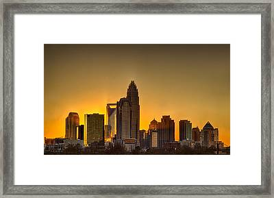 Golden Charlotte Skyline Framed Print