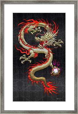Golden Chinese Dragon Fucanglong  Framed Print by Serge Averbukh