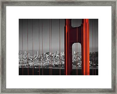 Golden Gate Bridge Panoramic Framed Print by Melanie Viola