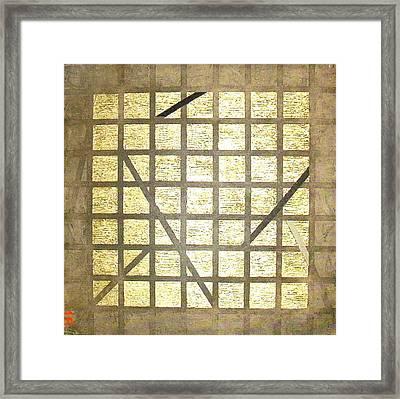 Framed Print featuring the painting Golden Gridwork by Bernard Goodman