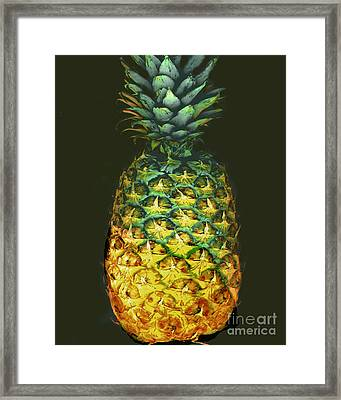 Golden Pineapple Framed Print by Merton Allen