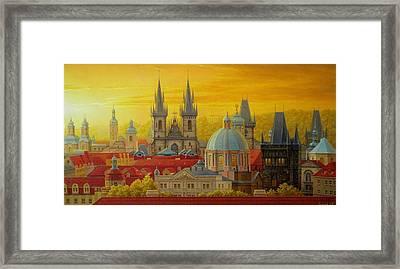 Golden Prague Framed Print