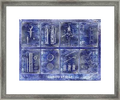 Golf Patent History Drawing Blue Framed Print