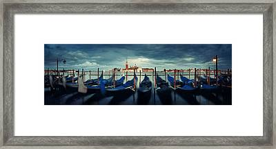 Framed Print featuring the photograph Gondola And San Giorgio Maggiore Island Panorama by Songquan Deng