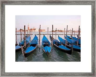 Gondolas At Dusk Framed Print by Italian School