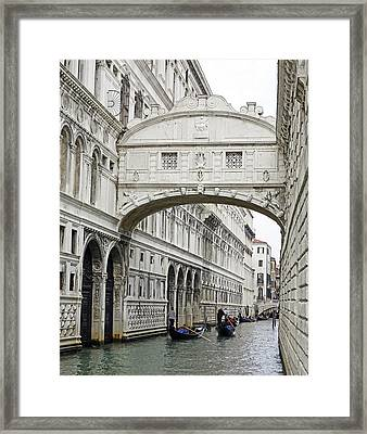 Gondolas Going Under The Bridge Of Sighs In Venice Italy Framed Print