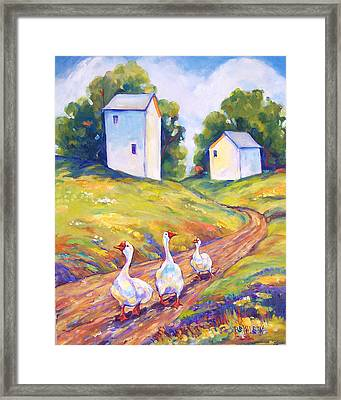 Goose Walk Framed Print by Peggy Wilson