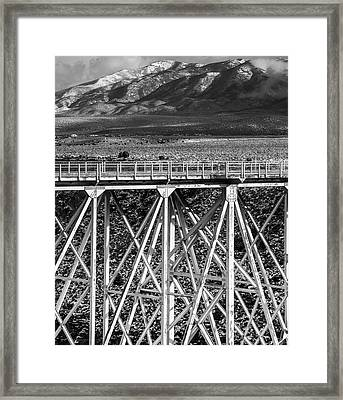 Gorge Bridge Black And White Framed Print