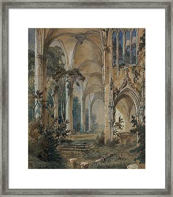 Gothic Church Ruin Framed Print by Carl Blechen
