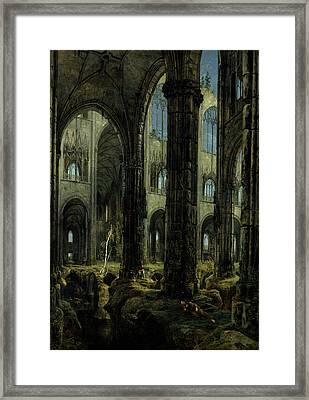 Gothic Church Ruins Framed Print by Carl Blechen