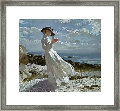 Grace Reading At Howth Bay Framed Print