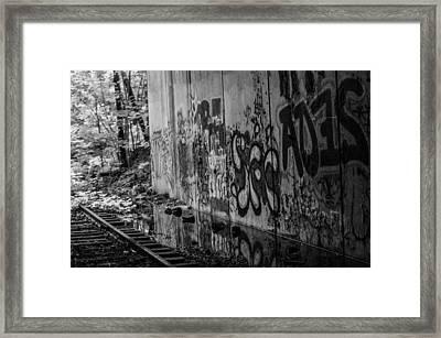 Graffitti And Train Tracks Framed Print