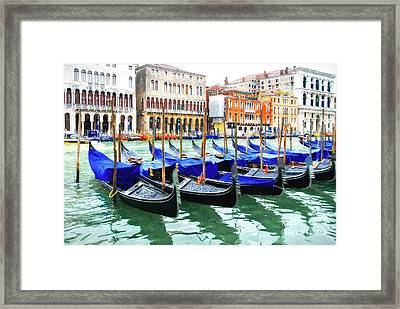 Grand Canal In Venice Framed Print by Mel Steinhauer