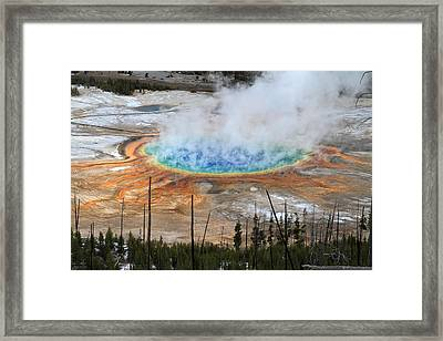 Grand Prismatic Springs In Yellowstone National Park Framed Print by Pierre Leclerc Photography