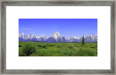 Grand Tetons Panorama Framed Print by Mary Gaines