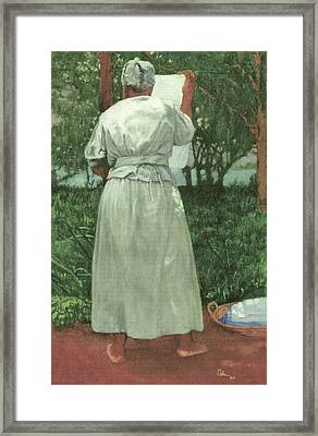 Granny At The Line Framed Print by Perry Ashe