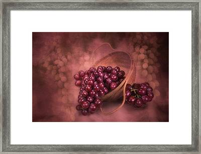 Grapes In Wicker Basket Framed Print