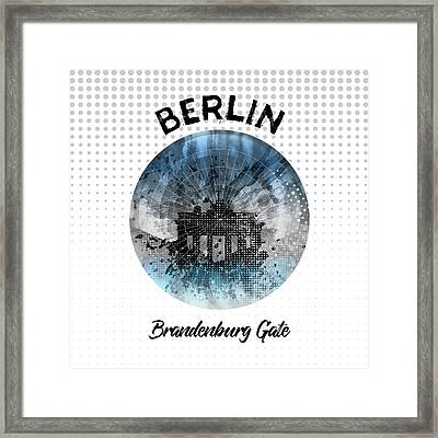 Graphic Art Berlin Brandenburg Gate Framed Print by Melanie Viola