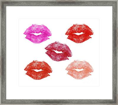 Graphic Lipstick Kisses Framed Print