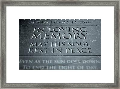 Gravestone In Loving Memory Framed Print by Allan Swart