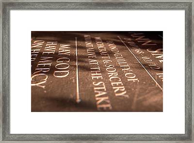 Gravestone Of Burnt Witch Framed Print by Allan Swart