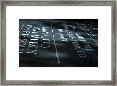 Gravestone Of Convicted Murderer Framed Print by Allan Swart