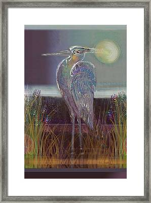 Great Blue Heron Framed Print by Lydia L Kramer