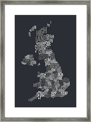 Great Britain County Text Map Framed Print by Michael Tompsett