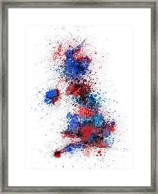 Great Britain Uk Map Paint Splashes Framed Print by Michael Tompsett