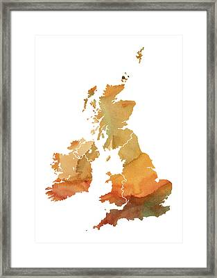 Great Britain Watercolor Map Framed Print