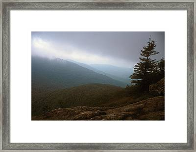 Great Cliff Of Mount Horrid Storm Framed Print by John Burk