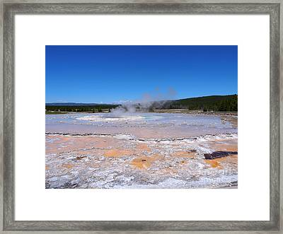 Great Fountain Geyser In Yellowstone National Park Framed Print by Louise Heusinkveld