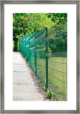 Green Fence Framed Print by Tom Gowanlock