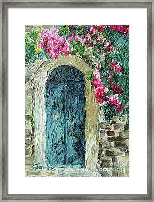 Green Italian Door With Flowers Framed Print