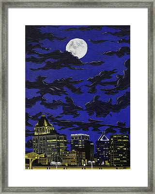 Framed Print featuring the painting Greensboro Night Skyline by John Gibbs