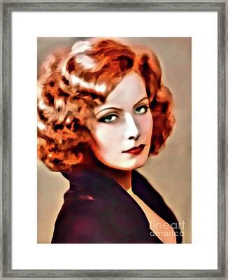 Greta Garbo, Hollywood Legend, Digital Art By Mary Bassett Framed Print
