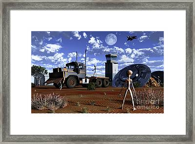 Grey Aliens Recovering Their Flying Framed Print