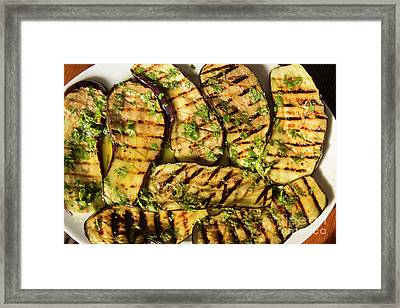 Grilled Eggplant With Dressing Framed Print