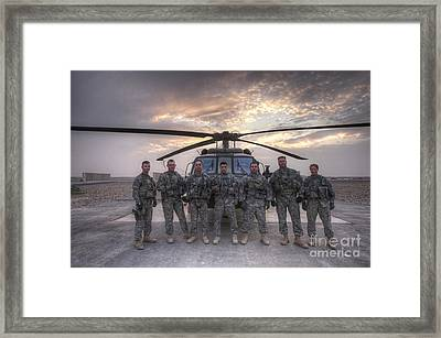 Group Photo Of Uh-60 Black Hawk Pilots Framed Print by Terry Moore