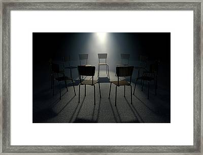 Group Therapy Chairs Framed Print by Allan Swart