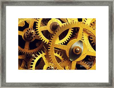 Grunge Gear Cog Wheels Background Framed Print