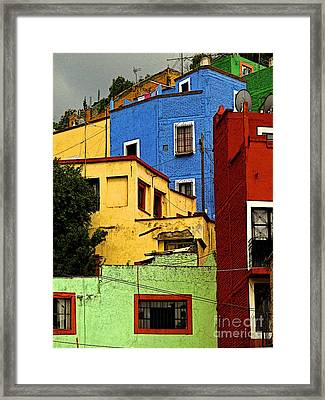 Guanajuato Hillside 3 Framed Print by Mexicolors Art Photography