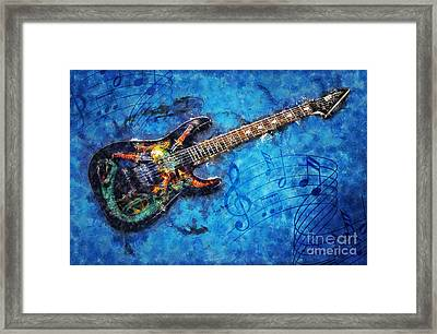 Framed Print featuring the digital art Guitar Love by Ian Mitchell