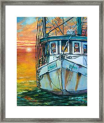 Framed Print featuring the painting Gulf Coast Shrimper by Dianne Parks