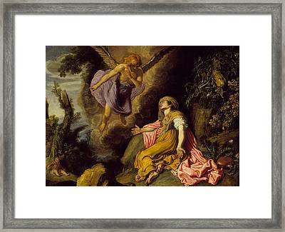 Hagar And The Angel Framed Print by Pieter Lastman