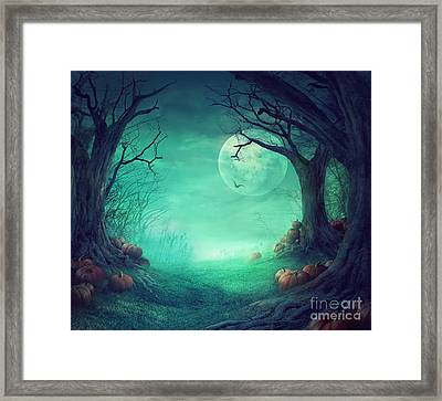 Halloween Background Framed Print by Mythja  Photography