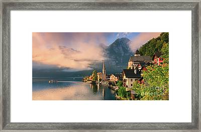 Hallstatt Is A Village In The Salzkammergut, A Region In Austria Framed Print