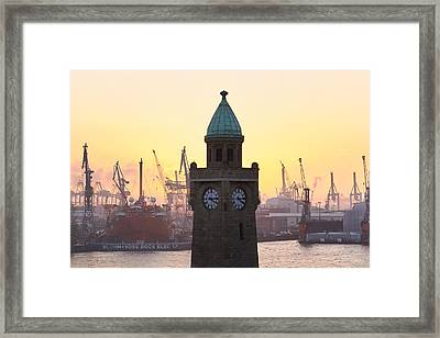Framed Print featuring the photograph Hamburg Sunset by Marc Huebner