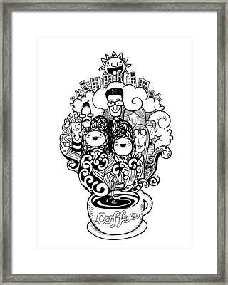 Hand Drawn Doodle Coffee Background, Illustrator Line Tools Draw Framed Print by Pakpong Pongatichat