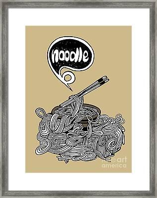 hand drawn doodle Noodle background Framed Print